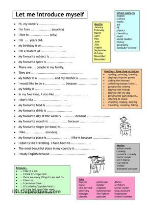 Let Me Introduce Myself Worksheet Free Esl Printable Worksheets Made By Teachers Teaching English English Language Learners Teaching