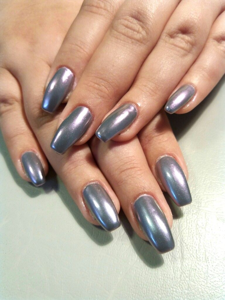Simple gray gel nails with mirror effect. Gun metal nails. New Years ...