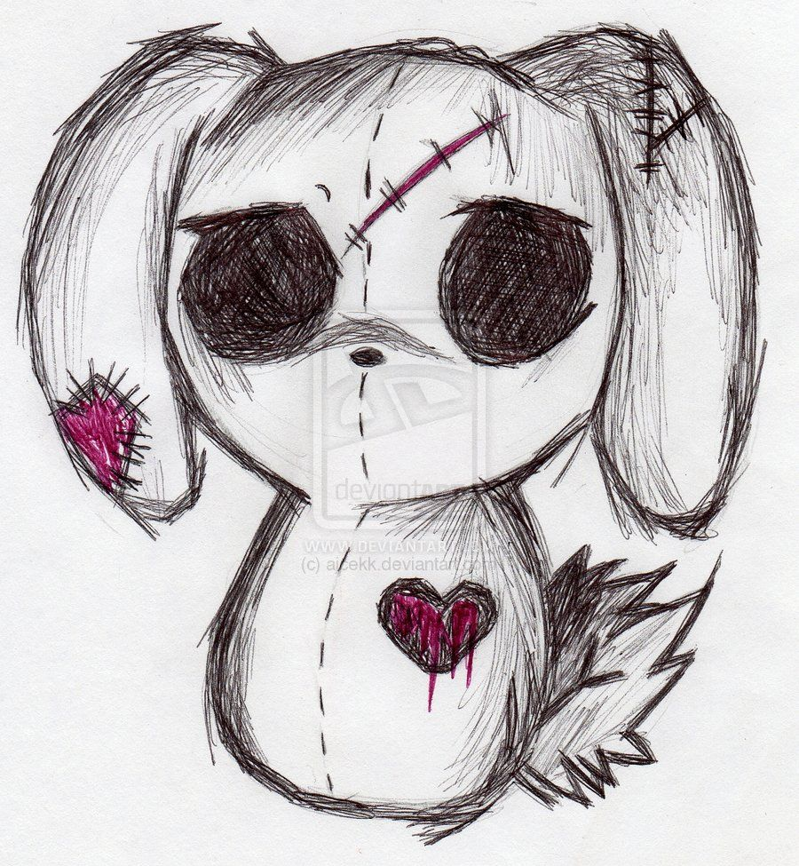 How to draw a simple emo face step 1 - Emo Drawings Emo Bunny By Ajcekk Traditional Art Drawings Animals 2010 2012 Ajcekk