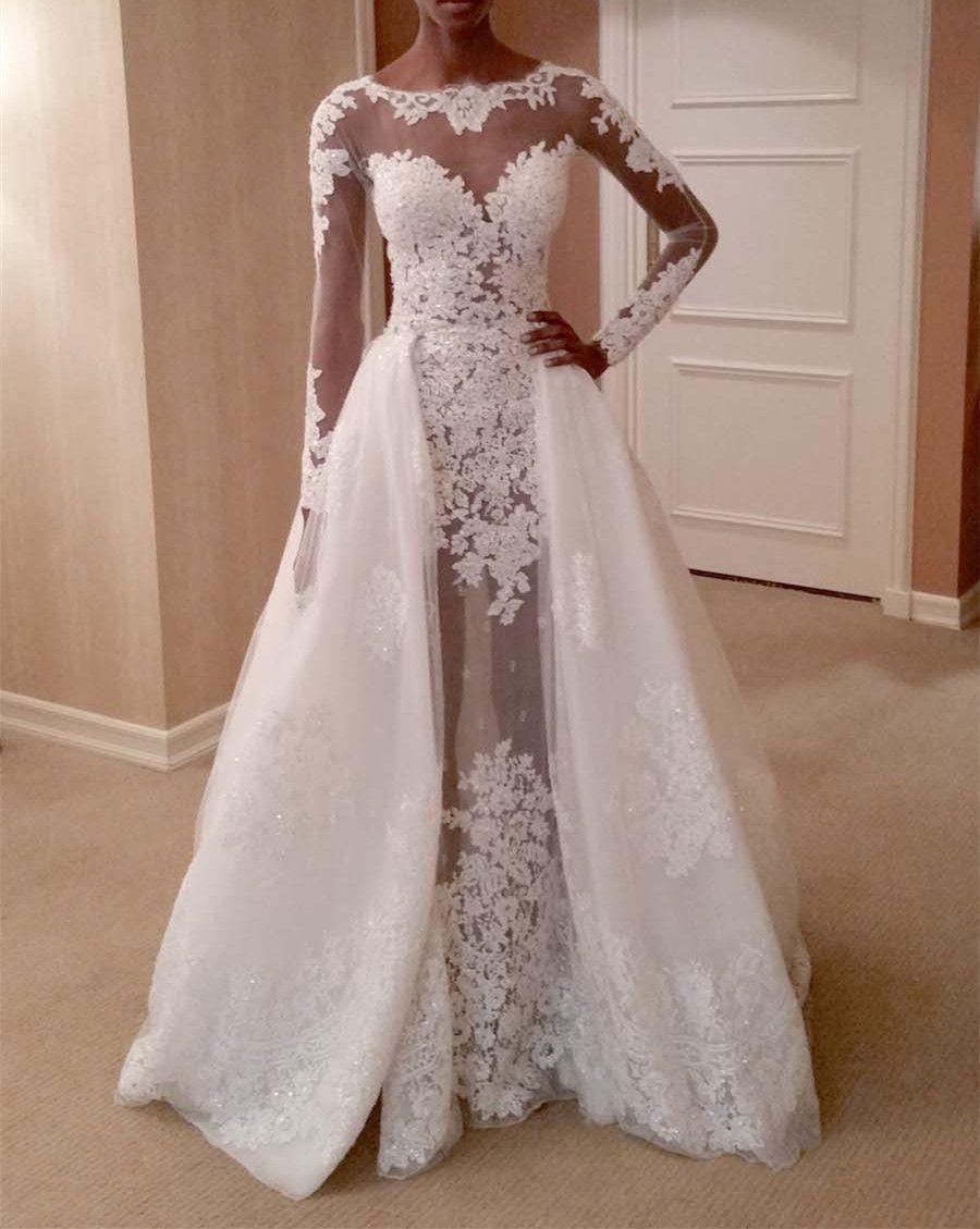 2017 romantic lace wedding dress long sleeve detachable