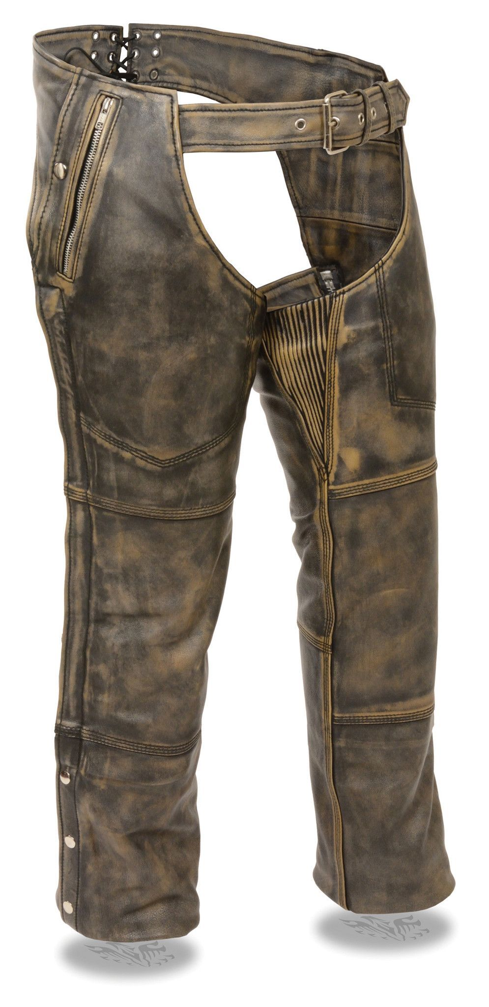Extra Heavy Classic Biker Cowhide Distress Leather Chaps-Unisex Limited Offer!