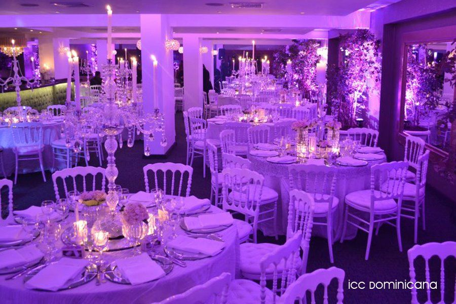 white, silver and purple wedding