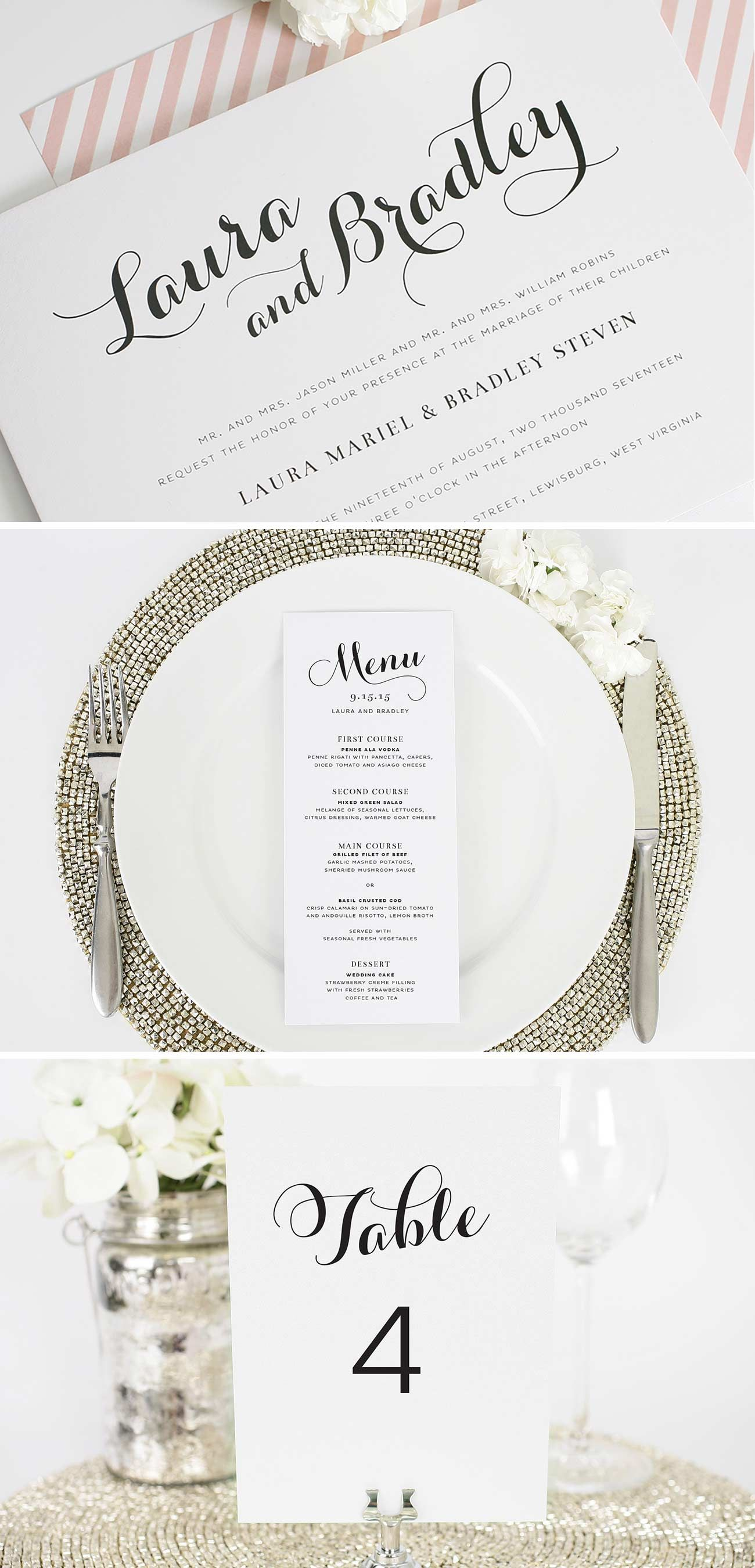 Romantic Script Wedding Invitations | Decor & Details For Weddings ...