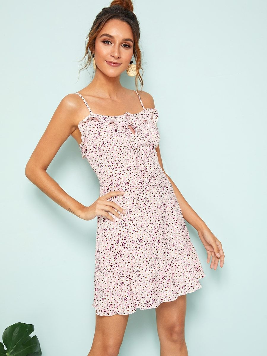 12d3abdcb4 Keyhole Knot Front Ruffle Ditsy Floral Slip Dress in 2019 | Shein ...