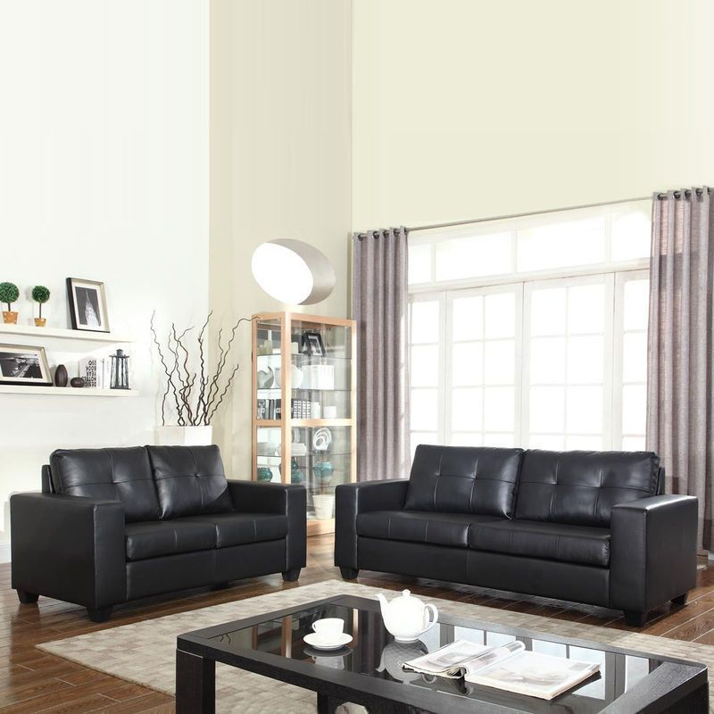 Nikki 2 & 3 Seater PU Leather Sofa Couch Set Black | Couch set ...