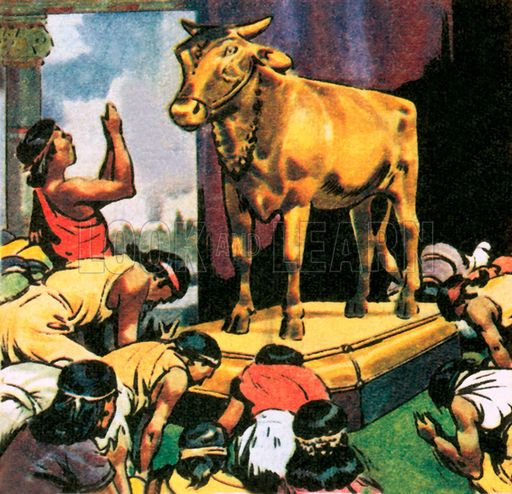 Worship of the Golden Calf | Biblical artwork, Golden calf, Bible pictures