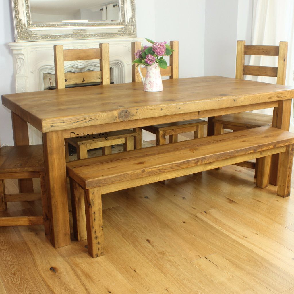 English Beam Rustic Extendable Reclaimed Wood Dining Table Medium