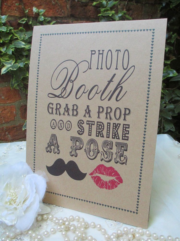 Photo Booth Sign Strike a Pose A4 Size Poster Shabby Chic Kraft Recycled Card