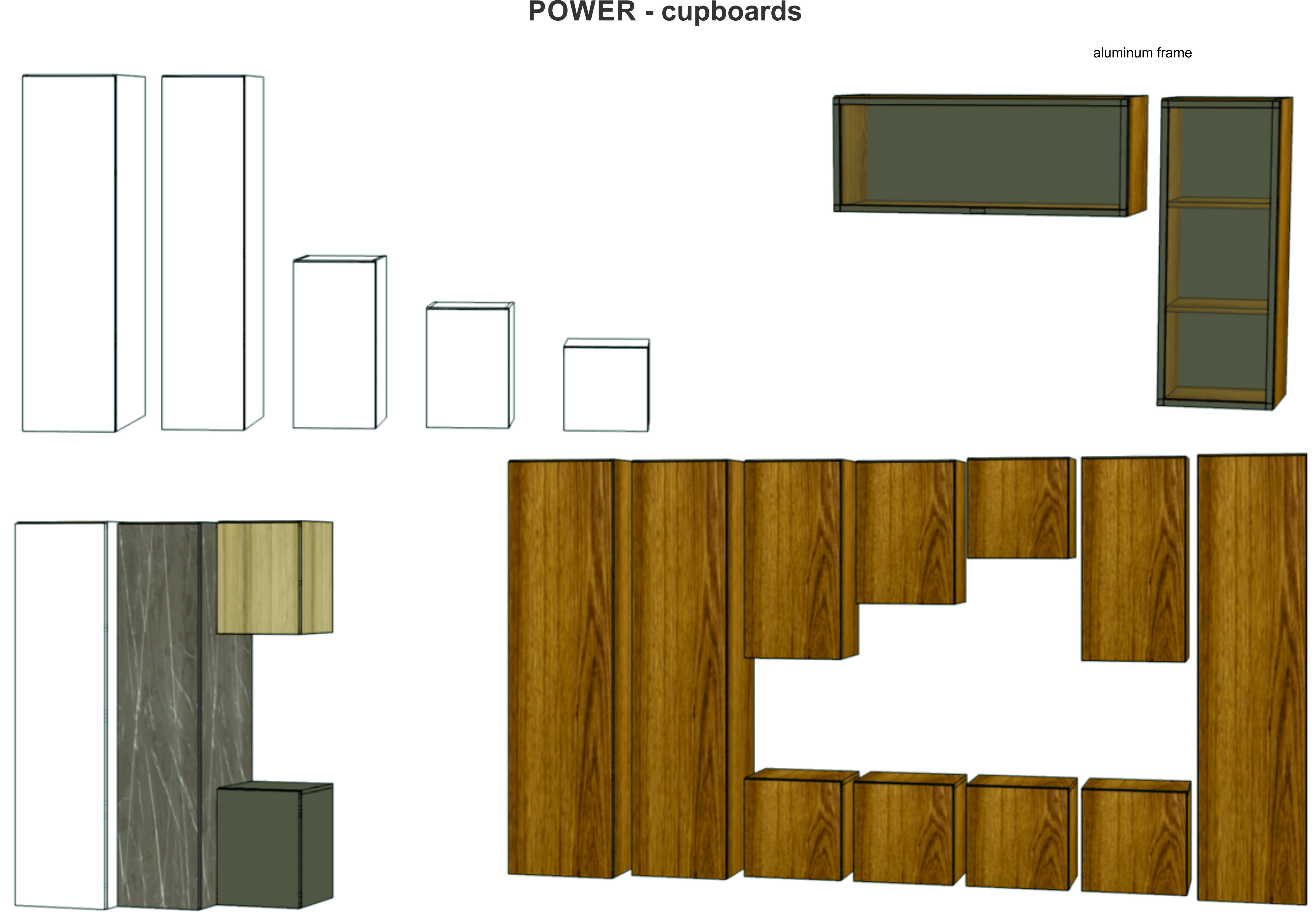 "Cupboards from Woost ""POWER"" collection. Different materials, textures and colours are available. Let us know what you think."