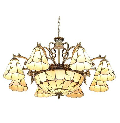 FUMAT Americal Style Living Room Tiffany Chandelier 8 Heads E26 Bulbs 11PCS 35 Wide Color Glass Pendant Lamp -- Learn more by visiting the image link.