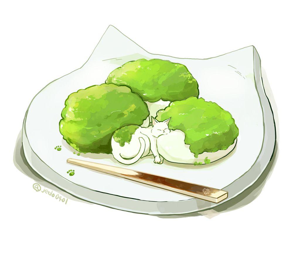 ぬこずんだ餅 | nomnomneko >o< | pinterest | 餅、食べ物、食べ物