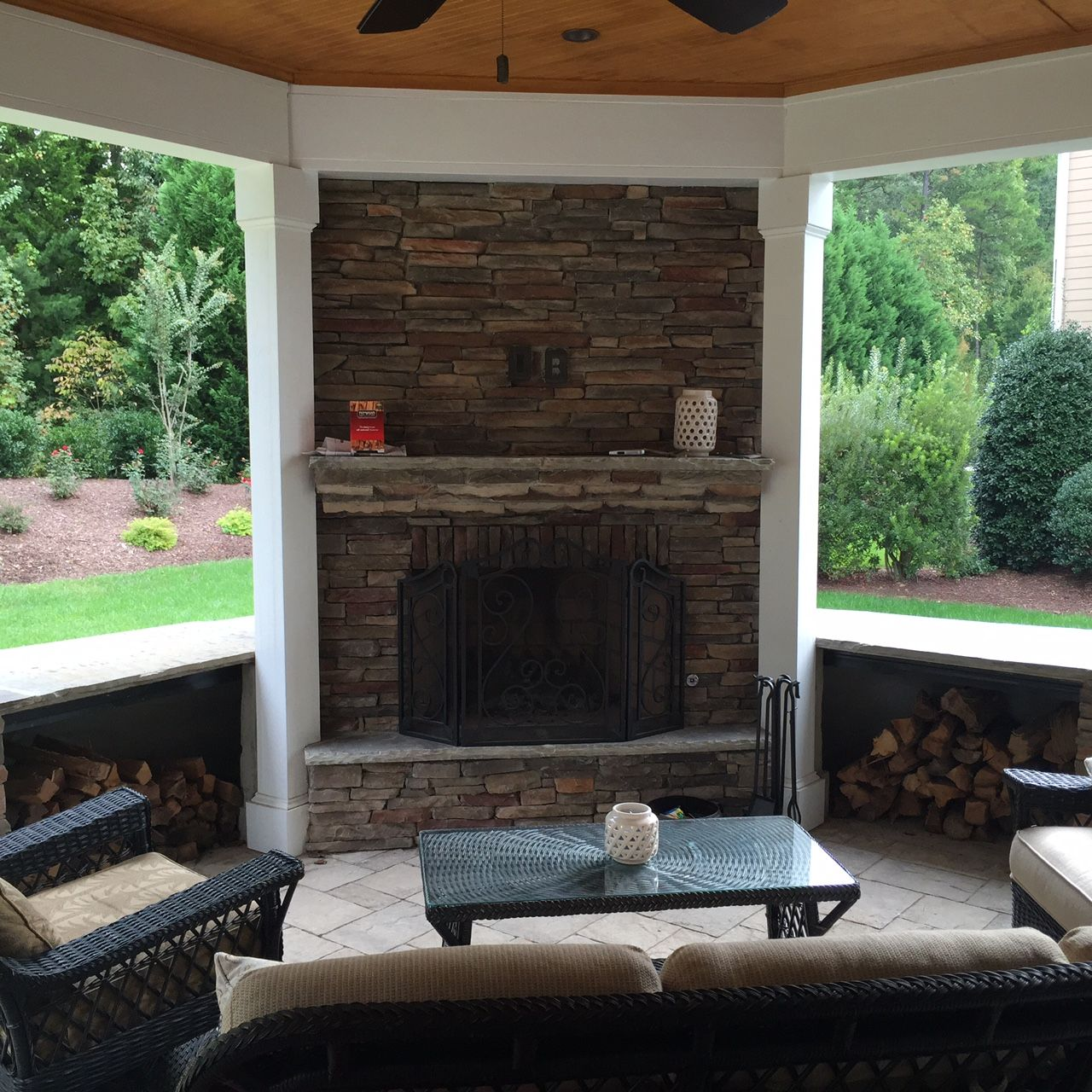 Chapel Hill Stone Outdoor Fireplace on Open Porch - Design ...