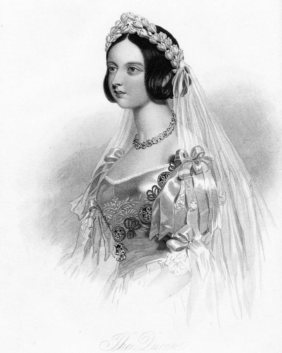 Queen Victoria As A Young Woman Wearing Her Wedding Dress Engraving From C 1860 Photo By D W Victoria Wedding Dress Young Queen Victoria Royal Wedding Gowns [ 1154 x 923 Pixel ]
