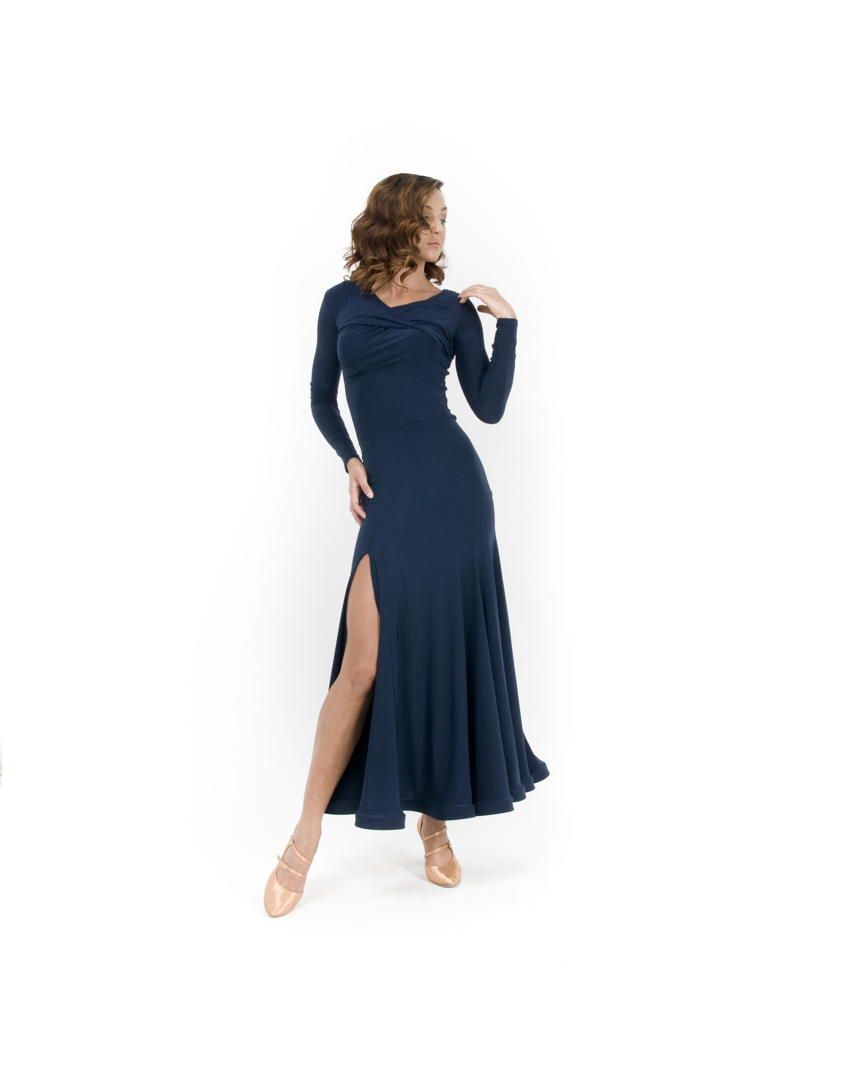 The Sophia Draped Top and Simone Skirt in Navy