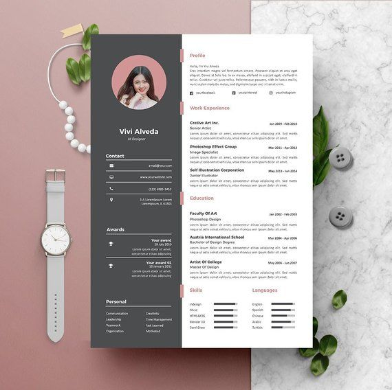 Modern Resume Template Instant Download 2 Pages CV template + Cover - resume 1 or 2 pages