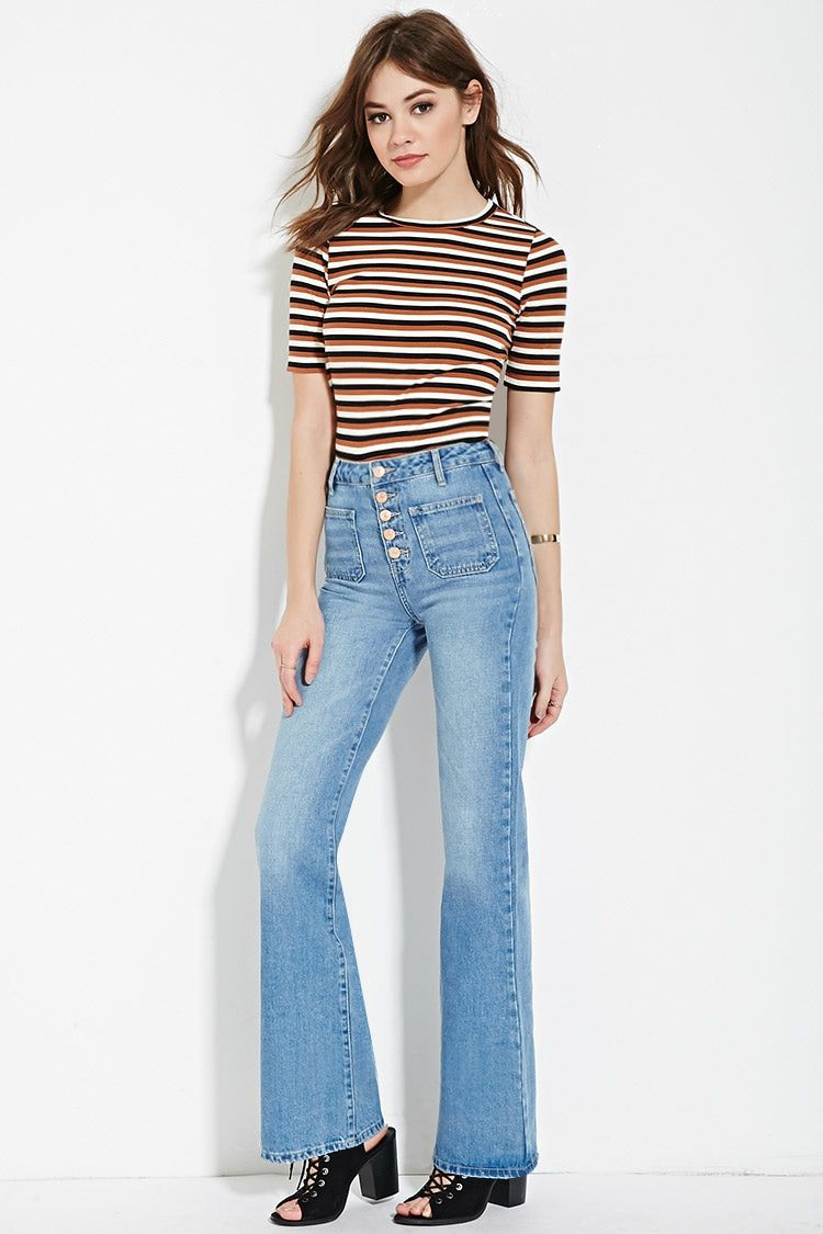 "1581627f91 We love the buttons, and the price, of Forever 21's ""Patch Pocket Flare  Jeans."""