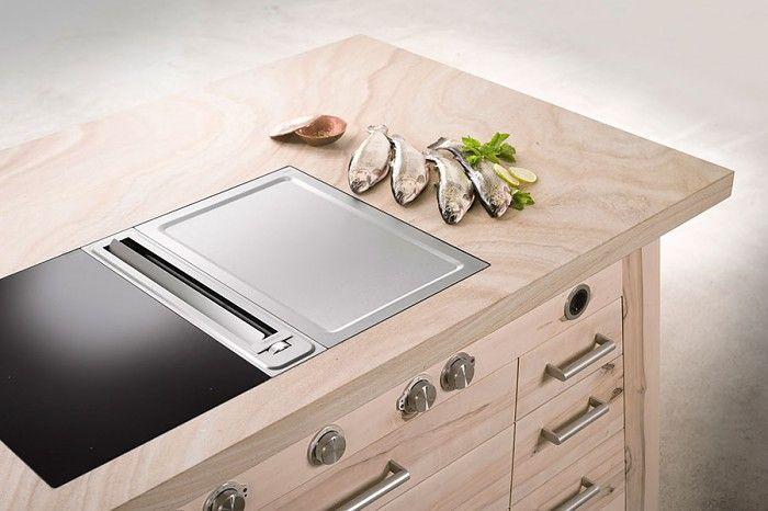 TISCHLEREI SOMMER Kochtisch k 13 Details mit BORA Professional - versenkbare steckdose küche