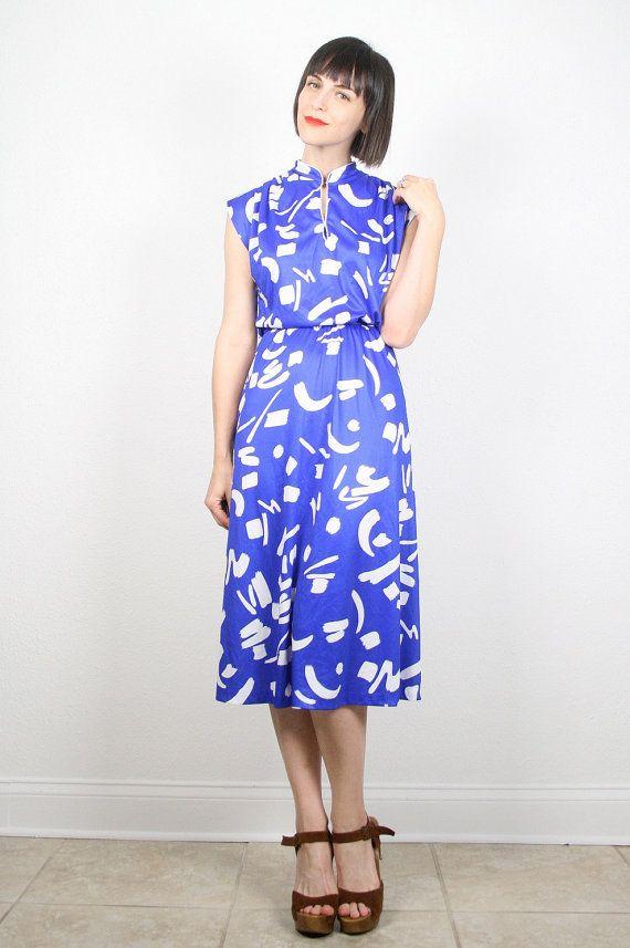 Vintage Cobalt Blue Dress Royal Blue Dress by ShopTwitchVintage #vintage #etsy #70s #1970s #midi #dress #abstract #floral #newwave