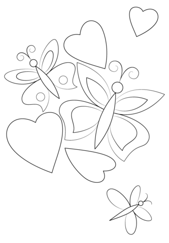 Hearts And Butterflies Coloring Page Valentine Coloring Pages Butterfly Coloring Page Heart Coloring Pages