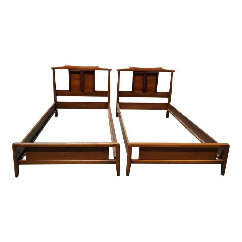 Best Mid Century Modern Chinoiserie Pagoda Style Twin Size Beds 400 x 300