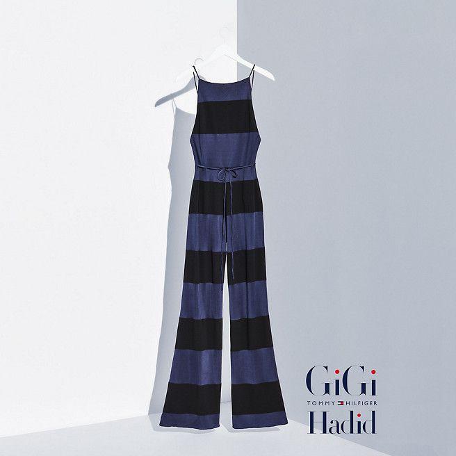 ee0d11426b8d Tommy Hilfiger Viscose Striped Jumpsuit Gigi Hadid - peacoat   jet black  (Blue) - Tommy Hilfiger Jumpsuits - main image