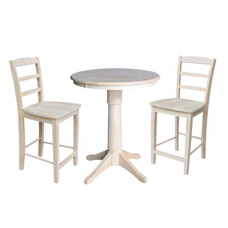 30 Inch Round Top Pedestal Counter Height Table With 2