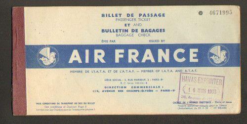 Air France Vintage Ticket Air France Rue Marbeuf Et France