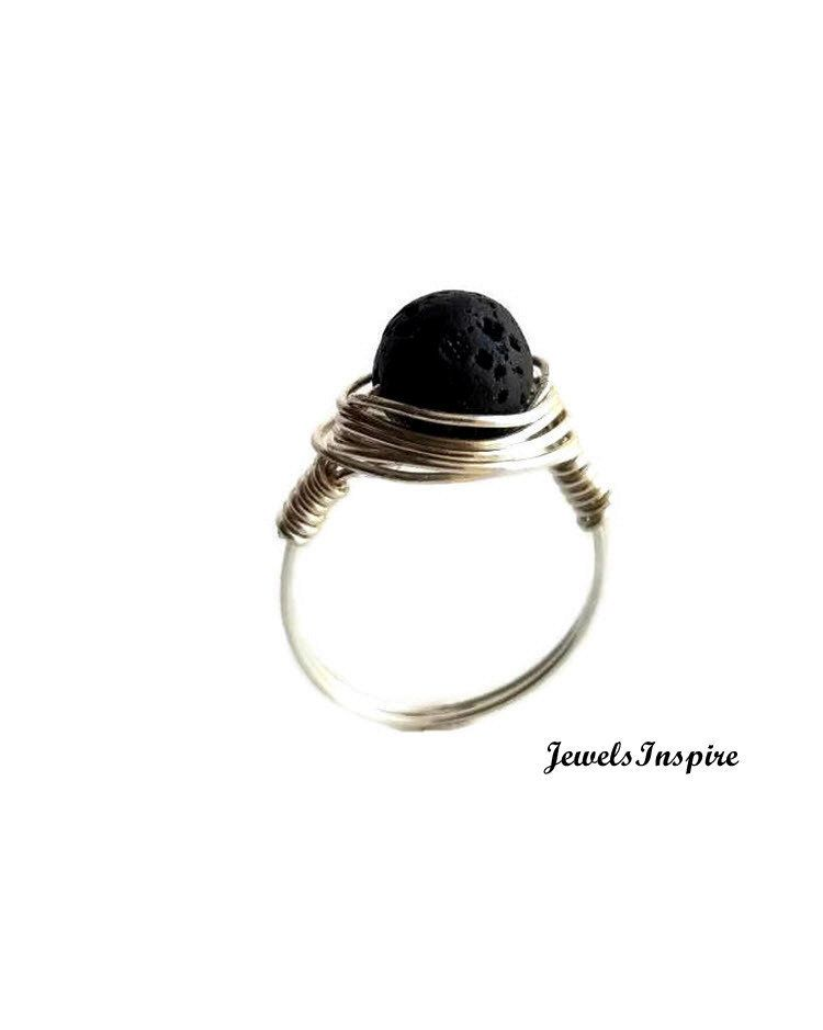 Lava Stone Ring Sterling Silver Wire Statement Jewelry Gift For