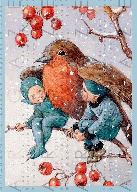 Christmas Elves Take Shelter Under The Wings Of A Bird Christmas Drawing Christmas Art Christmas Elf