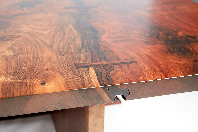 Live Edge Claro Walnut Dining Table Edge With Epoxy Bark Fill And