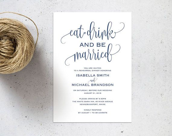 Dinner Invitation Template Navy Blue Rehearsal Dinner Invitation Template Rehearsal  Rehearsal .