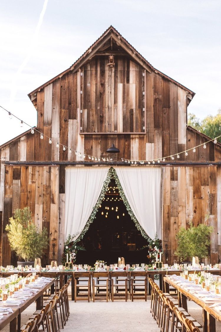 Outside barn wedding ideas  Once it becomes dark the cafe lighting will be perfect Also