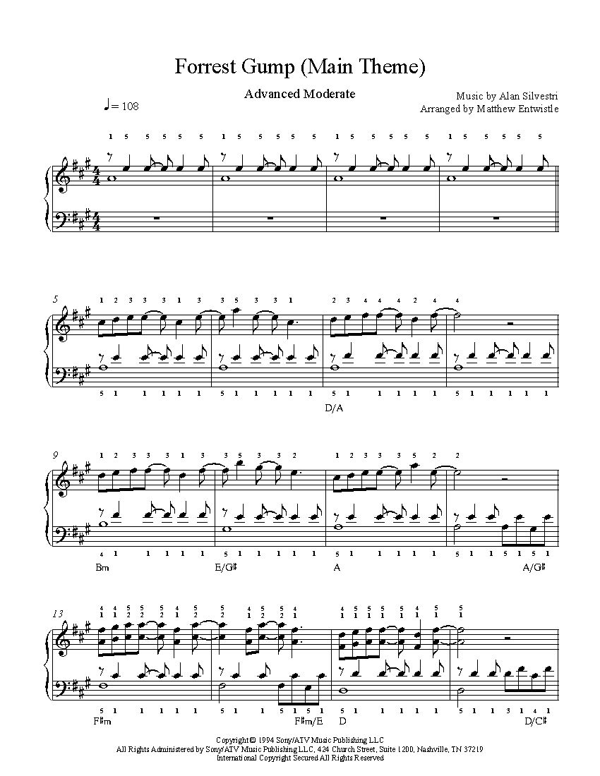 Forrest Gump Main Title By Alan Silvestri Piano Sheet Music