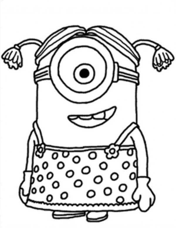 little girl the minion coloring page