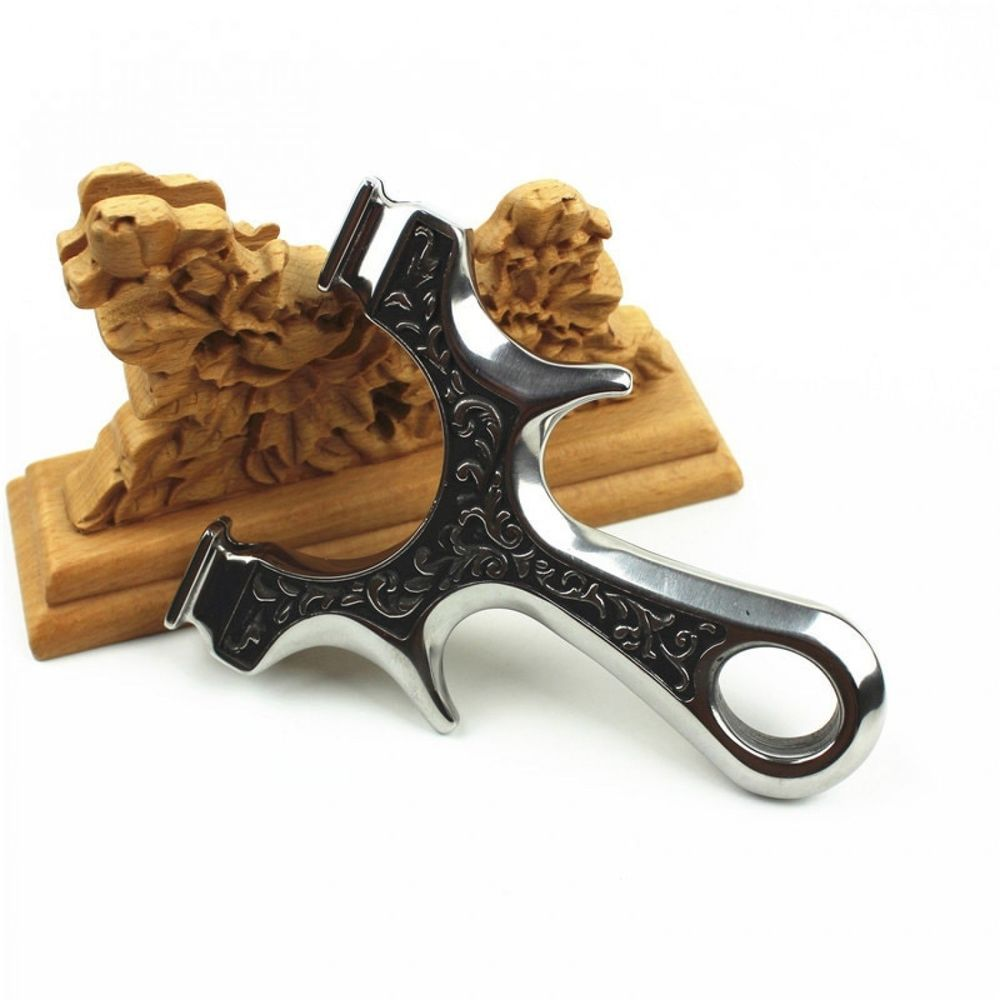 Slingshot Powerful Catapult for Hunting Stainless steel with flat Rubber Band