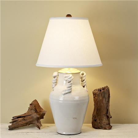 White Italian Ceramic Vase Table Lamp