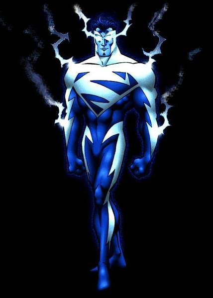 Superman when his powers temporarily changed to electricity-based abilities, of course necessitating a costume change.
