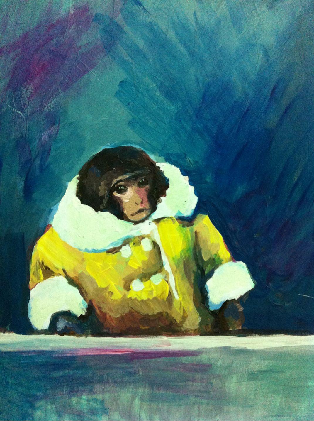 HAHAHAHAH its a painting of Darwin the IKEA monkey, how beautiful ...