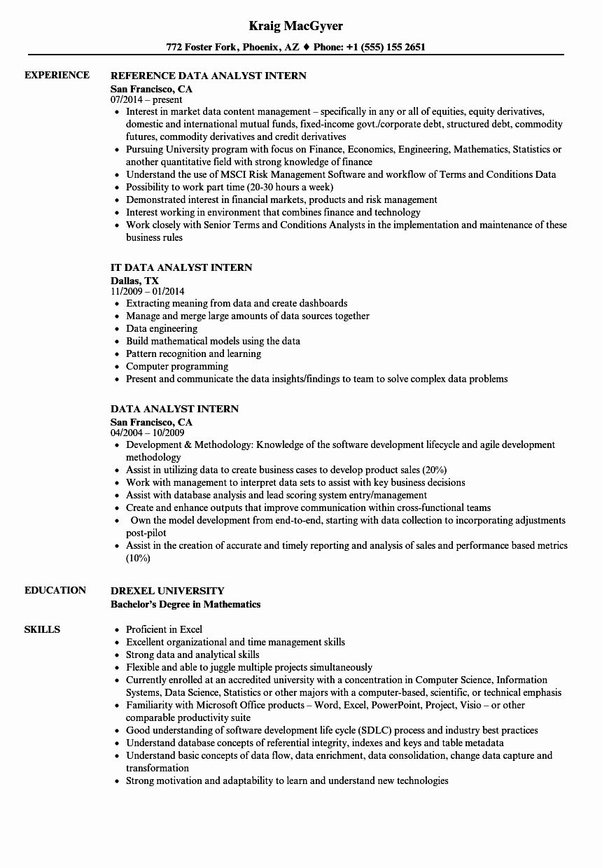 Business Analyst Intern Resume Awesome Data Analyst Intern Resume Samples Data Science Business Analyst Job Resume Samples