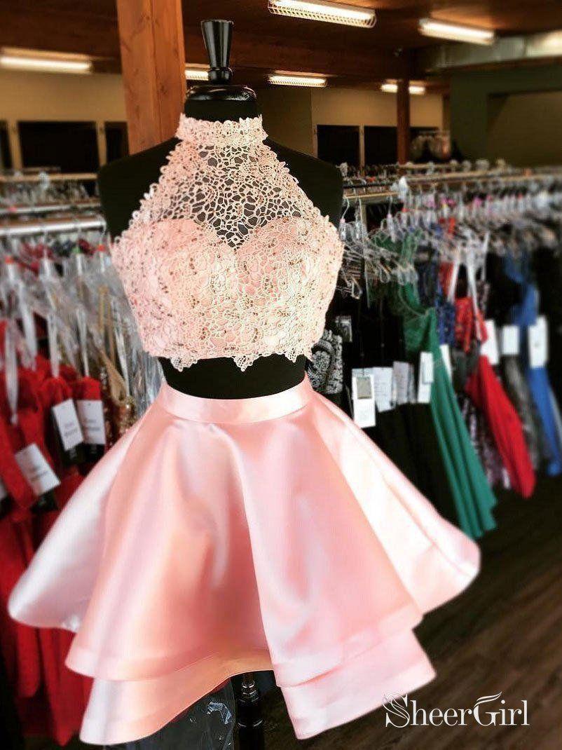 a47d83c7a8 Princess Halter 2 Piece Homecoming Dresses Mini Short Prom Dresses ...