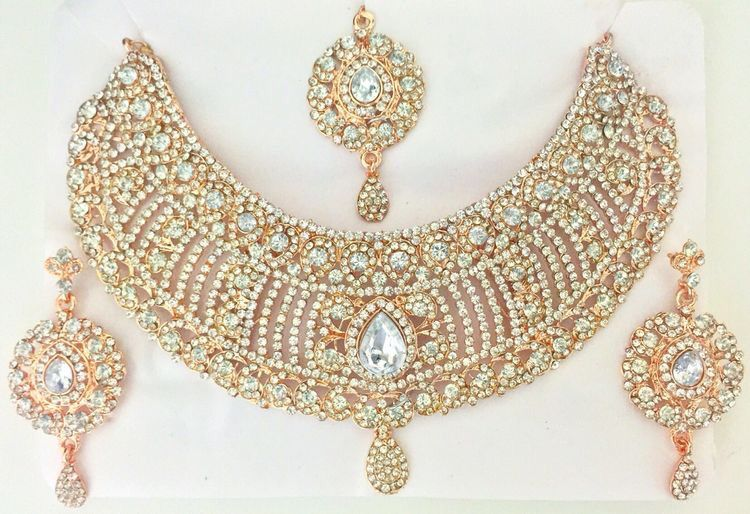Rose Gold Indian Jewelry Set Bollywood Jewelry Set  dfcb5a002930