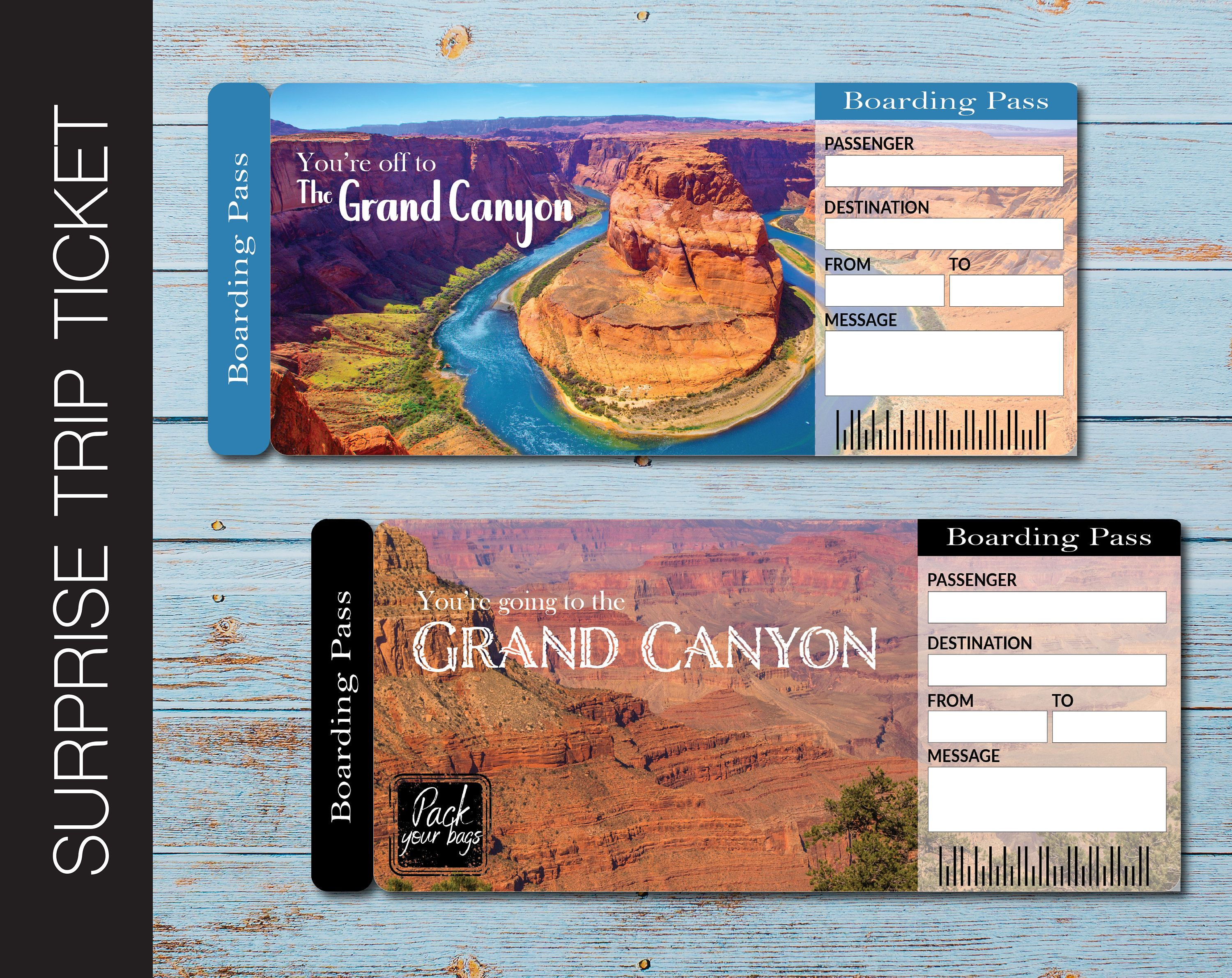 Grand Canyon Surprise Gift Ticket Boarding Pass You Re Going To