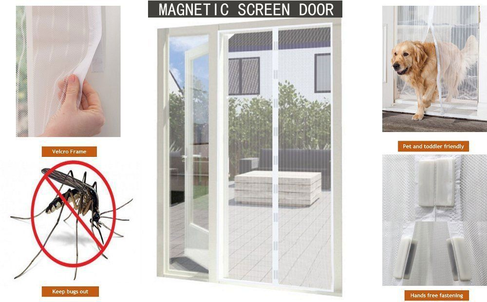 Magnetic Mesh Screen Bug Stopping Door Size 36 X 87 Easy To Install Keeps Insects Out Magnetic A Magnetic Screen Door Screen Door Screen Door Curtains
