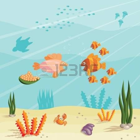Illustration of an underwater ocean scene with small cartoon illustration of an underwater ocean scene with small cartoon fishes photo voltagebd Gallery