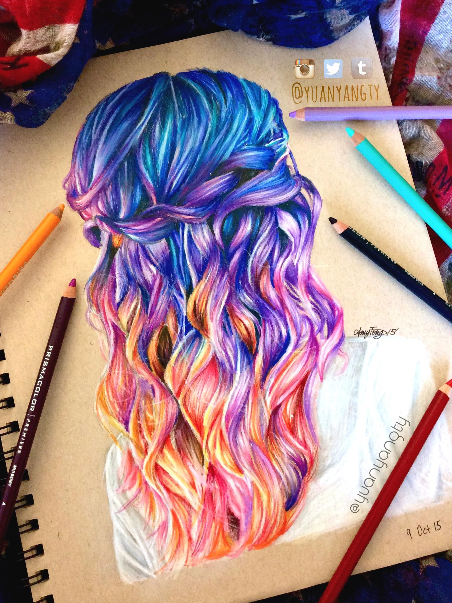 hair colored pencil drawing