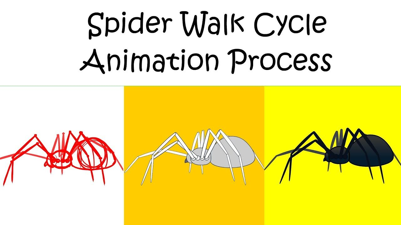 Cartoon spider walk cycle animation process animation