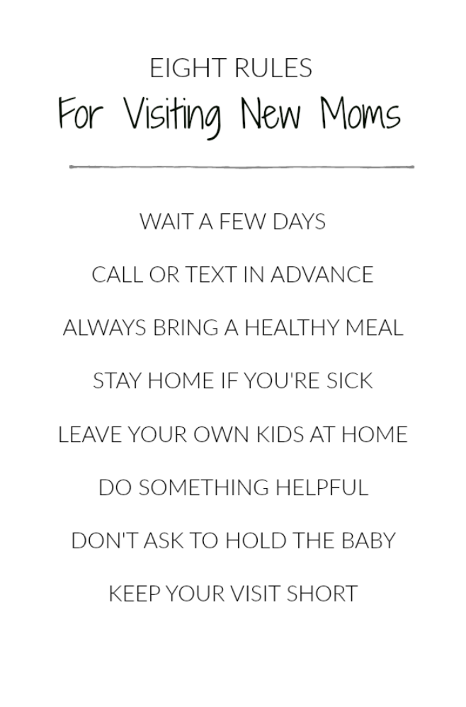Eight Rules For Visiting A New Mom