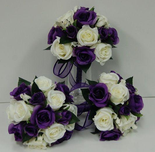 3X Silk Wedding Bouquet Purple Cream White Rose Posy Flowers Bouquets Set