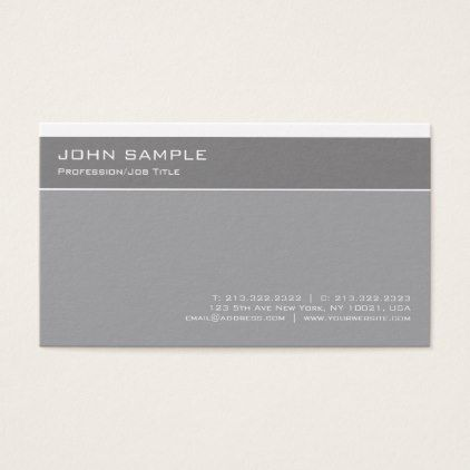 Modern Elegant Grey Professional Simple Plain Business Card - Sample Cards