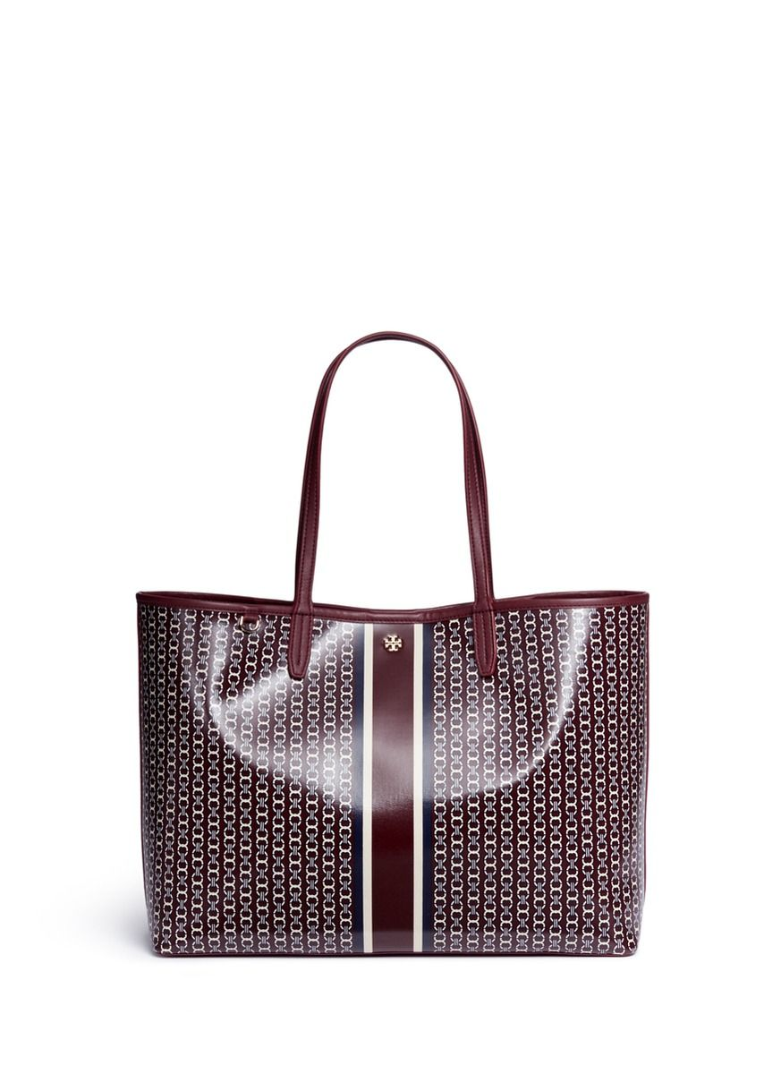TORY BURCH 'Gemini Link' Coated Canvas Tote. #toryburch #bags #leather